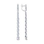 Серьги длинные из серебра с фианитами 94022461