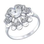 Кольцо из серебра с горным хрусталем и фианитами 92011383