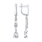 Серьги из серебра с фианитами 94023097