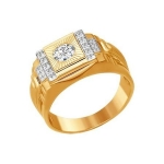 Печатка из золота с алмазной гранью с фианитами 014820