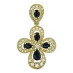 Крестик православный с бриллиантом из желтого золота