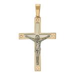 Крестик православный с бриллиантом из бело-красного золота