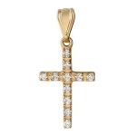 Крестик православный с бриллиантом из красного золота