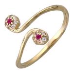 Кольцо с рубином из желтого золота