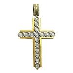 Крестик православный с бриллиантом из бело-желтого золота