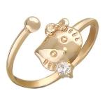 Кольцо с фианитом из красного золота