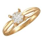 Кольцо с бриллиантом из красного золота