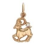 Подвеска знак зодиака с фианитом из красного золота