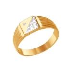 Печатка из комбинированного золота с алмазной гранью 011597