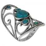 Кольцо Deno из серебра с бирюзой 01R2087TQ