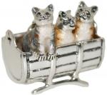 Котята в бочонке серебро ST472
