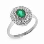 Серебряное кольцо Sandara с агатом и фианитами LGR039
