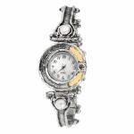 Серебряные часы Yaffo с жемчугом, фианитами и золотом 01-SAW622