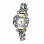 Серебряные часы Yaffo с бирюзой и золотом 01-SAW624