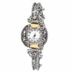 Серебряные часы Yaffo с розовым кварцем и золотом 01-SAW629