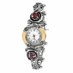 Серебряные часы Yaffo с гранатом и золотом 01-SAW630