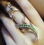 Золотое кольцо на весь палец Узор Утум с фианитами K114G-10