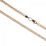 Цепь золотая полая женская плетение «Ромб» из красного золота