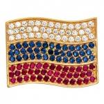Фрачный значок Флаг России из золота