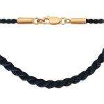 Колье-шнурок каучуковый с золотом 0РЛ010722
