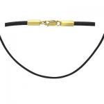 Колье-шнурок каучуковый с золотом 0РЛ010434Ж