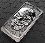 Зажим для денег Череп в берете серебро