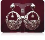 Серебряные серьги с жемчугом Узор Утум CG34