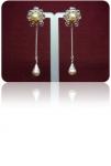 Серебряные серьги с жемчугом Узор Утум CG041