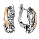 Серебряные серьги Yaffo с золотом SAE959