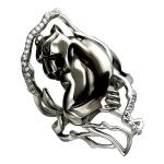 Кольцо серебряное Пантера 01К158358ЧР