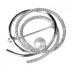 Серебряная брошь De Luna с жемчугом YFBR005