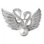 Серебряная брошь De Luna с жемчугом YFBR003