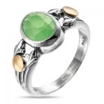 Серебряное кольцо Yaffo с зеленым кварцем SAR906