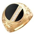 Золотое кольцо с ониксом и фианитами 01Т415224-1