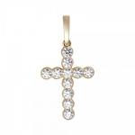 Подвеска Крест из желтого золота с бриллиантами 01Р640749Z
