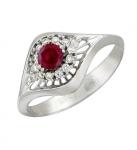 Кольцо из белого золота с рубинами и бриллиантами01К625853-2