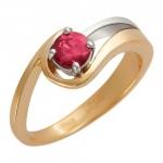 Кольцо золотое с рубином 01К562637-2