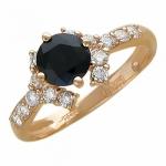Кольцо золотое с сапфирами и бриллиантами 01К615402-3