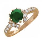 Кольцо золотое с изумрудами и бриллиантами 01К615402