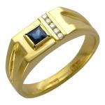 Перстень печатка из золота с сапфиром 01Т644660-1