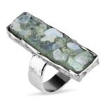 Серебряное кольцо Yaffo с романским стеклом TZR444