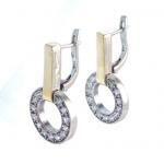 Серебряные серьги Yaffo с фианитом и золотом SAE1199