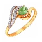 Кольцо из золота с хризолитом 01К3110974-4