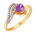 Кольцо из золота с аметистом 01К3110974-2