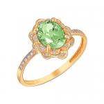 Кольцо из золота с хризолитом 01К3110973-4