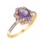 Кольцо из золота с аметистом 01К3110973-2