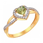 Кольцо из золота с хризолитом 01К3110972-4
