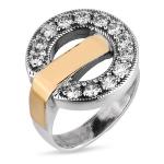 Серебряное кольцо Yaffo с фианитом и золотом SAR1201
