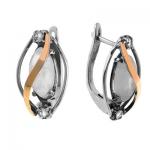 Серебряные серьги Yaffo с золотом, лунным камнем SAE245MS