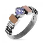 Серебряное кольцо Yaffo с золотом и фианитами SAR1248